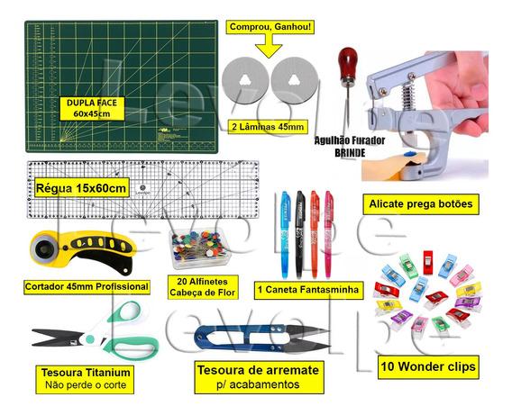 Kit Base De Corte 60x45 +régua 60 + Cortardor 45mm + Tesoura