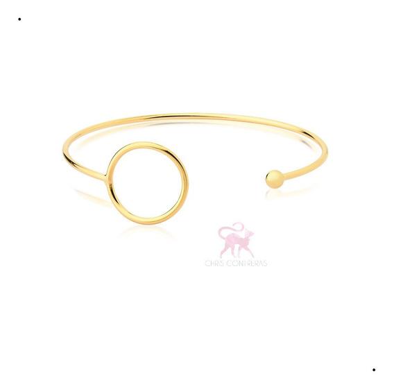 Pulseira Bracelete Feminino Dourado Banhado A Ouro