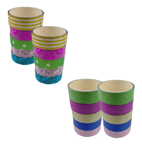 Imagem 1 de 9 de 20 Rolos De Fita Adesiva Decorativa Washi Tape Artesanato