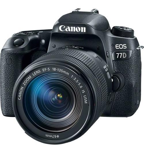 Câmera Canon Eos 77d Com Lente Usm De 18-135 Mm Nova Com 1 Ano De Garantia E Nota Fiscal