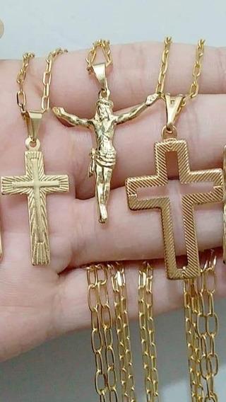 Corrente Masculina Cruz Jesus Banhada A Ouro