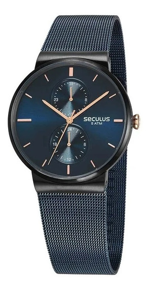 Relógio Unissex Preto Azul Safira Seculus 13035gpsvta2