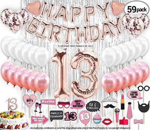 Decoraciones De Cumpleaños Dorado Rosa Con Cortinas Plateada