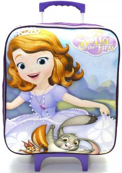 Mochila Ou Malinha Infantil Princesa Sofia Rodinhas G Menina