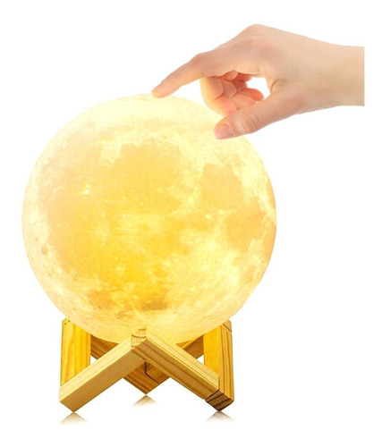 Imagen 1 de 7 de Lámpara De Luna 3d Táctil Usb De 15 Cm Decoracion Vintage