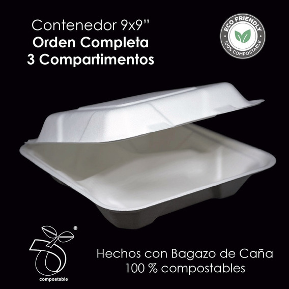 Pack 50, Charola 9x9 Con 3 Div Bidegradable 100% Compostable