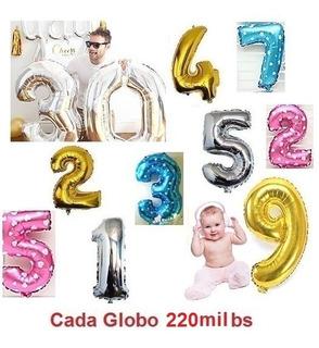 Globos Numeros Plateados Dorados Azul Ro 75cm (precio Abajo)