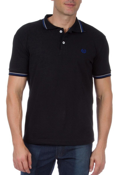 Camisa Polo Colombo Masculina Preta Com Detalhe 42250