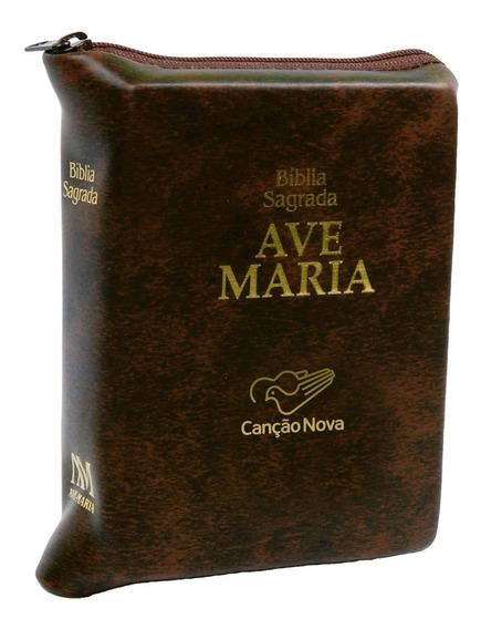 Livro Bíblia Ave Maria De Bolso Com Zíper