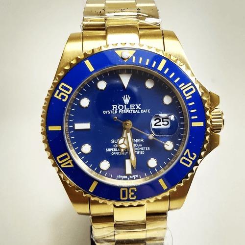 Relógio Masculino Rolex A Prova Dágua Dourado Com Azul