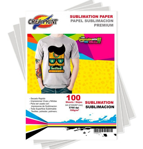 Papel Sublimacion 100 Hojas Tamaño A4 Marca Creaprint