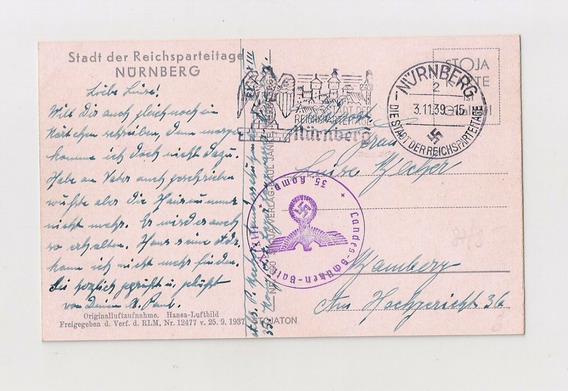 Alemania Reich Tarjeta Postal Circulada Nurnberg 1939
