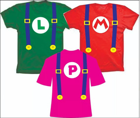 Fantasia Camisetas Do Mario, Princesa Peach Ou Luigi