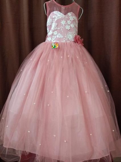 Elegante Vestido De Tul Con Perlas - Kinder, Ceremonia, Etc.