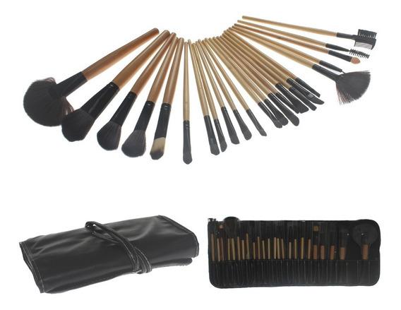 Kit De Pincel Maquiagem Profissional 24 Pçs Com Estojo