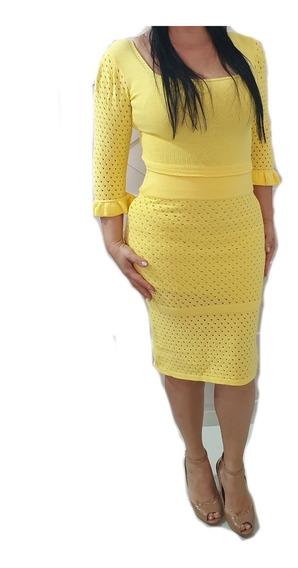 Conjunto Feminino Tricot Saia Mid E Cropped Moda Evangelica