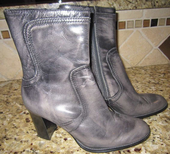 Nine West-botas Importadas De Cuero-media Cana-36-gris