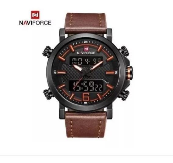 Relógio Masculino Naviforce Nf9135 Couro Adultos Digital