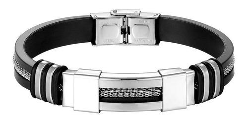 Bracelete Pulseira Masculina De Aço Prateada E Silicone