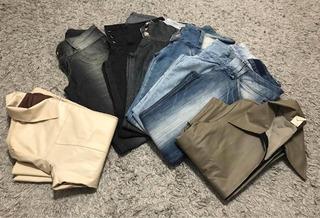 Lote De Roupas 36/38 P/m Jaquetas Couro Fake E Calças Jeans