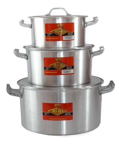 Set X3 Cacerola Gastronómica Nº20 - 24 - 30 Aluminio Real