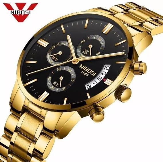 Relógio Masculino Nibosi Original Analógico Luxo Com Caixa