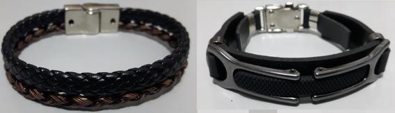 Pulseira Couro Ecológico Promoção Masculina Bracelete Luxo