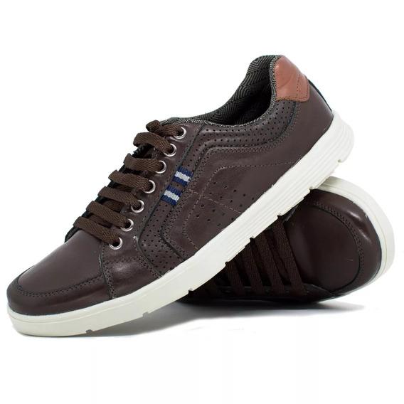 Kit 2 Parescalçados Sapatos Sapatênistenis Em Couro Legítimo