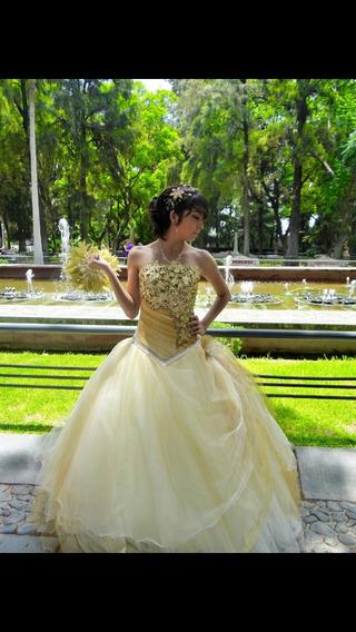 Hermoso Vestido De 15 Años Dorado Casa Diseñadora Los Gatito