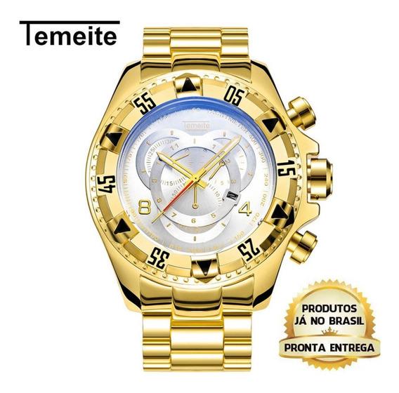 Relógio Temeite Tg064 Dourado Fundo Branco