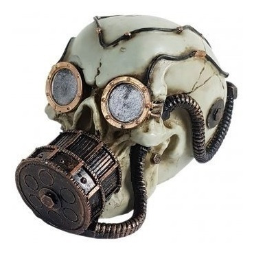 Crânio Caveira Mergulhador Mascara Oxigênio Enfeites Resina