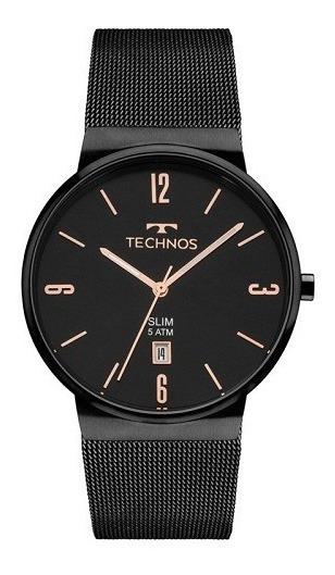 Relógio Technos Feminino Slim Preto Original 1 Ano Garantia