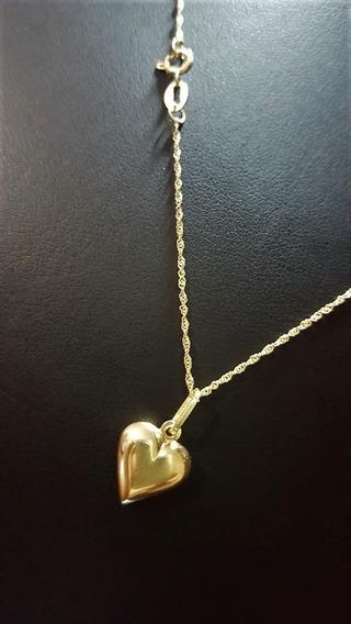 Correntinha De Ouro 18 K 750 Com Pingente De Coração