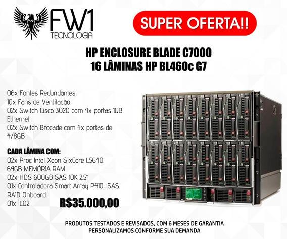 Servidor Blade Hp C7000 Com 16x Servidores Bl460c G7 2x Xeon Sixcore 64gb Ram 1.2tb Hd Sas