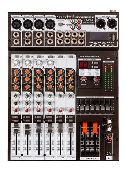 Mesa De Som Soundcraft 8 Canais Sx-802 Fx Usb - Bivolt
