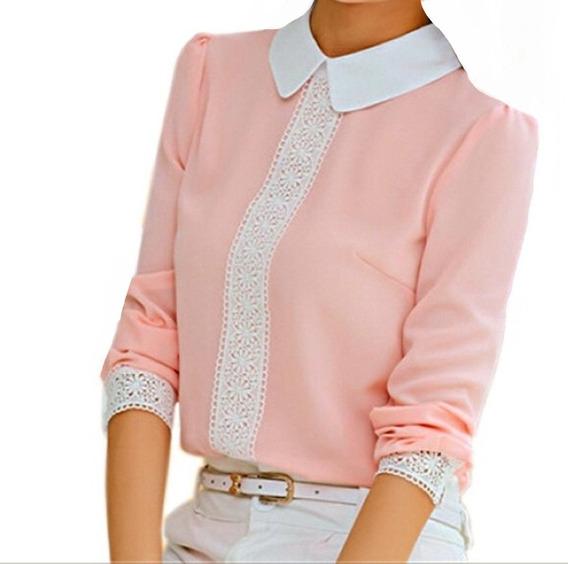 Camisa Blusa Feminino Social Renda Foto Real De Luxo