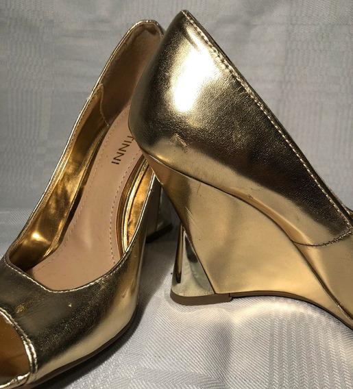 Zapatos De Taco Chino De Fiesta Eco Cuero Dorado