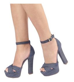 Sandália Salto Alto Jeans, Saltão Com Meia Pata