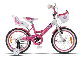 Bicicleta Aurora Flower Rodado 16 + Ruedas Estabilizadoras