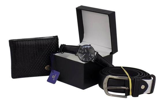 Kit Relógios Orizom Spaceman Couro Preto Carteira Cinto