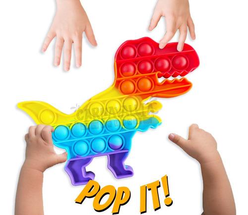 Imagen 1 de 9 de Pop It Juguete Burbujas Antiestres Colores Dinosaurio Rex