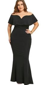 Vestido Fiesta Negro Largo Elasticad Talla Plus + Envio Plus