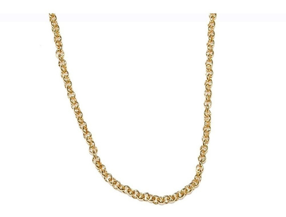 Cordão Elos 45 Cm Folheado A Ouro 18k