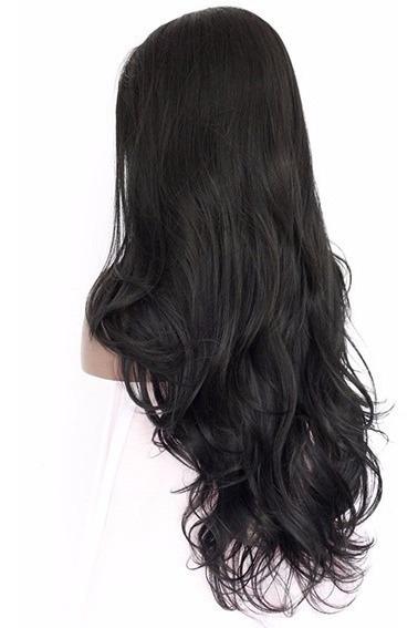 Peruca Fronte Lace Wig Fibra Orgânica Japonesa Lisa Ondulada