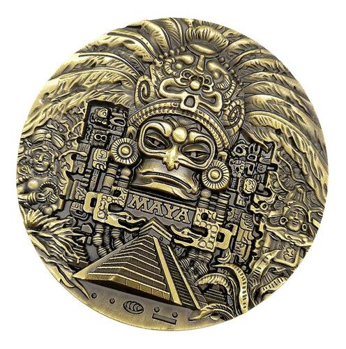 Imagen 1 de 11 de 80mm Dia Maya Azteca Verde Bronce Moneda Medallón Arte