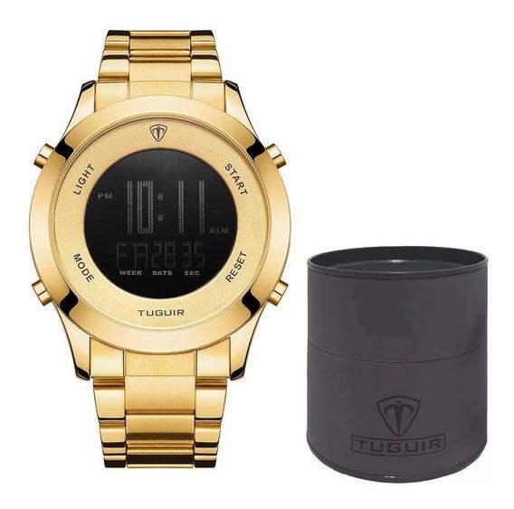 Relógio Digital Masculino Tuguir Dourado Original Dj0078