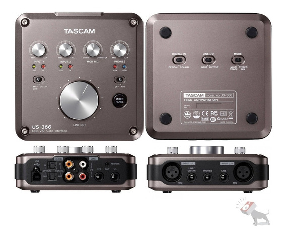 Placa Interface Mixer Dsp 4 In 6 Out Tascam Us-366 Usb 2.0