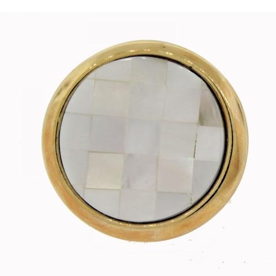 Anel Folheada Ouro Possebon Pedra Natural Branca