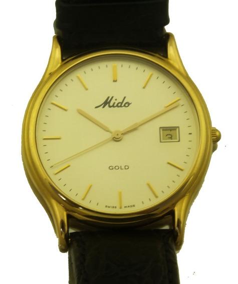 Relógio De Pulso Mido Gold Date Ouro 18k Masculino J22032