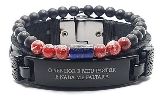 Kit 2 Pulseira Couro Preto Salmo 23 Ônix Jaspe Imperador Red